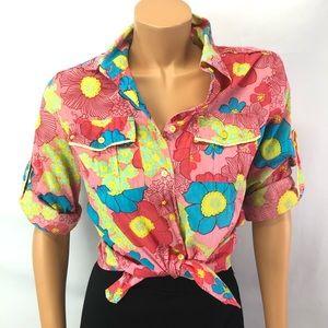 Vintage Lady Dutch floral cotton buttoned shirt M
